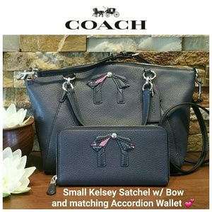 NEW Coach Small Kelsey Satchel w/Bow & Wallet